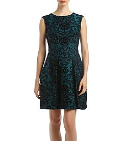 Gabby Skye Flocked Scuba Fit And Flare Dress