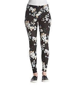 Pink Rose Floral Print Leggings
