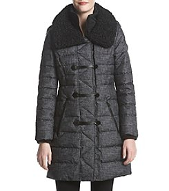 GUESS Tweed Print Wide Faux Fur Collar Coat
