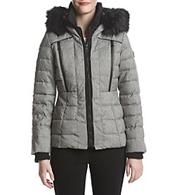 GUESS Bibbed Faux Fur Trim Hood Multi Quilt Coat