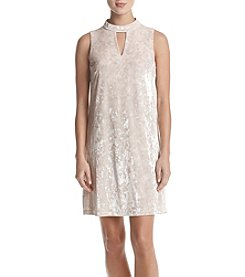 Nine West Mock Neck Crushed Velvet Dress