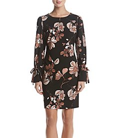 Nine West Floral Printed Tie Sleeve Dress