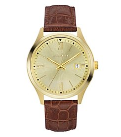 Caravelle by Bulova Men's Leather Strap Goldtone Dress Watch