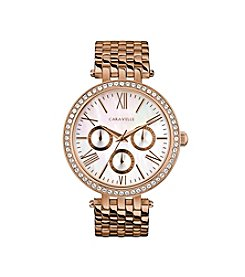 Caravelle by Bulova Women's Rose Goldtone Multifunction Crystal Watch