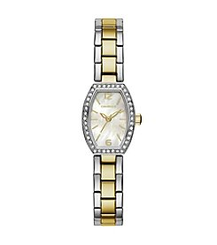 Caravelle by Bulova Women's Crystal Barrel Two-Tone Bracelet Dress Watch
