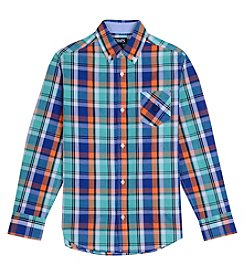 Chaps Boys' 8-20 Long Sleeve Plaid Woven Button Down Shirt