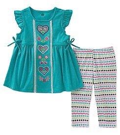 Kids Headquarters Girls' 2T-6X 2 Piece Hearts Tunic And Leggings Set
