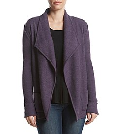 Jones New York Fold-Over Collar Ribbed Sleeve Cardigan