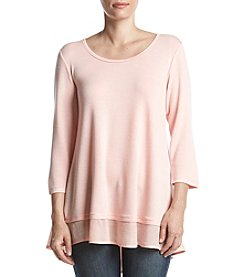 Bobeau Rose Pink Button Detail Sheer Hem Top