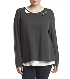 Democracy Plus Size Crew Neck Layered Look Top