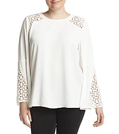 Kasper Plus Size Lace Inset Bell Sleeve Blouse