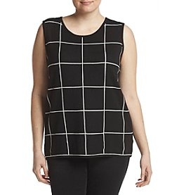 Kasper Plus Size Windowpane Pattern Shell Sweater
