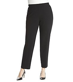 Nine West Plus Size Button Detail Compression Pants