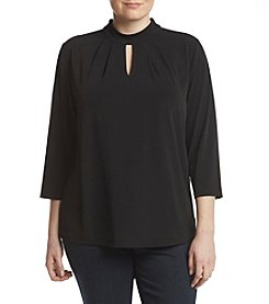 Nine West Plus Size Keyhole Neckline Top