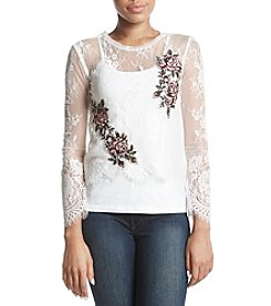 Sequin Hearts Embroidered Floral Lace Top