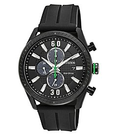 Citizen Men's CTO Black Dial Chronograph Rubber Strap Watch