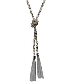GUESS Long Knotted Tassel Necklace