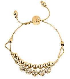 GUESS Goldtone Pave Beaded Double Row Slider Bracelet