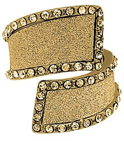 Guess Goldtone Crystal and Glitter Swirl Ring