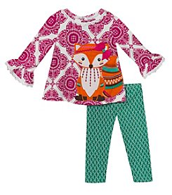 Rare Editions Baby Girls' 12M-24M Geo Print Fox Top with Leggings Set