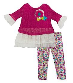 Rare Editions Baby Girls' 12M-24M Knit Sweater with Lace and Floral Leggings Set