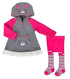 Cuddle Bear Baby Girls' 2 Piece Cat Dress Set