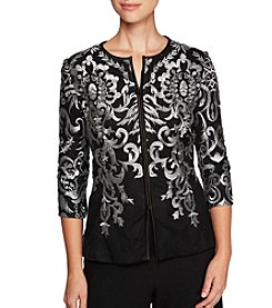 Alex Evenings Embroidered Zip Jacket