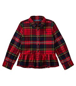 Polo Ralph Lauren Girls' 2T-6X Flannel Peplum Top