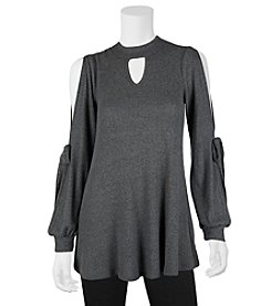 A. Byer Chip Neck Split Sleeve Top