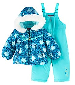London Fog Baby Girls' 12M-24M Embroidered Snow Jacket Set