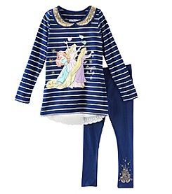 Disney Girls' 4-6X 2 Piece Striped Princess Top And Leggings Set