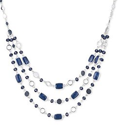 Nine West Silvertone Multi Row Blue Stone Frontal Necklace