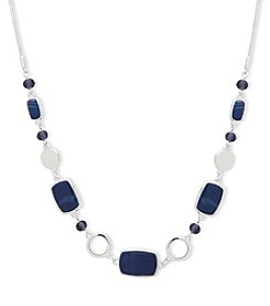 Nine West Silvertone Blue Stone Frontal Necklace