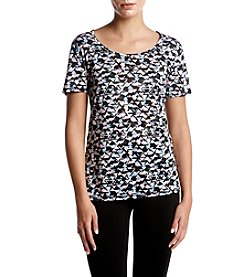 Exertek Geometric Pattern Scoop Neck Top