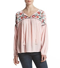 Ruff Hewn Floral Embroidered Peasant Top