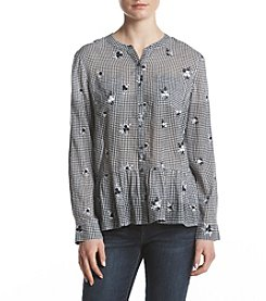 a75f156b9d4 Ruff Hewn Floral Embroidery Gingham Pattern Top