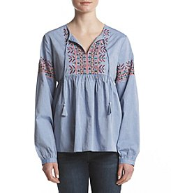 Ruff Hewn Floral Embroidery Detail Peasant Top