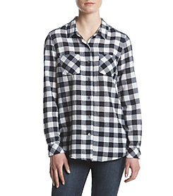 Ruff Hewn Split Back Hem Checkered Top