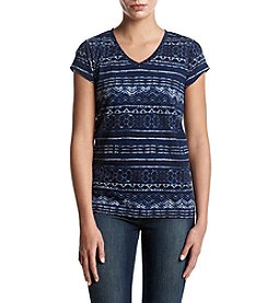 Ruff Hewn Striped Pattern Button Up Back V-Neck Tee