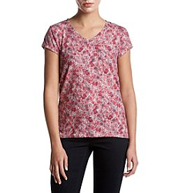 Ruff Hewn Floral Pattern V-Neck Button Up Closure Top