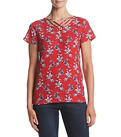 Ruff Hewn Strappy V-Neck Floral Printed Tee