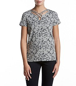Ruff Hewn Lattice Neck Floral Print Top