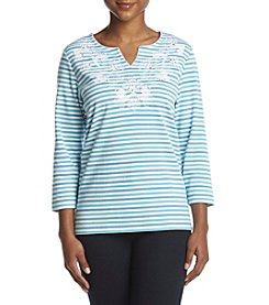Alfred Dunner Petites' Stripe Embroidered Yoke Top