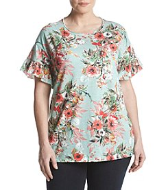 Ruff Hewn Plus Size Ruffle Sleeve Floral Top