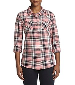 Ruff Hewn Petites' Checked Split Back Hem Top