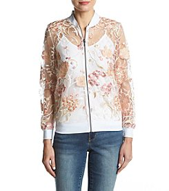 Ruff Hewn GREY Floral Embroidery Applique Detail Bomber Jacket