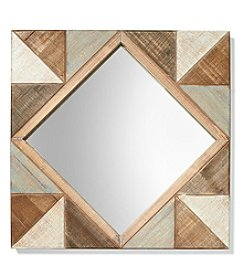 Ruff Hewn Diamond Pattern Geometric Mirror