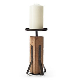 Ruff Hewn Wood And Metal Pillar Candle Holder