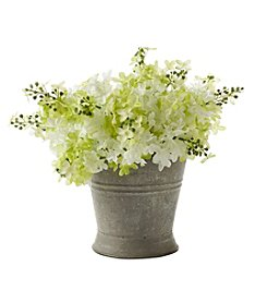Living Quarters Farmhouse White Lilacs in Galvanized Pot