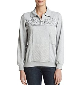 Alfred Dunner Quilted Floral Embroidery Top
